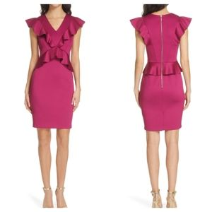 TED BAKER| Alair Ruffle Peplum Bodycon Dress